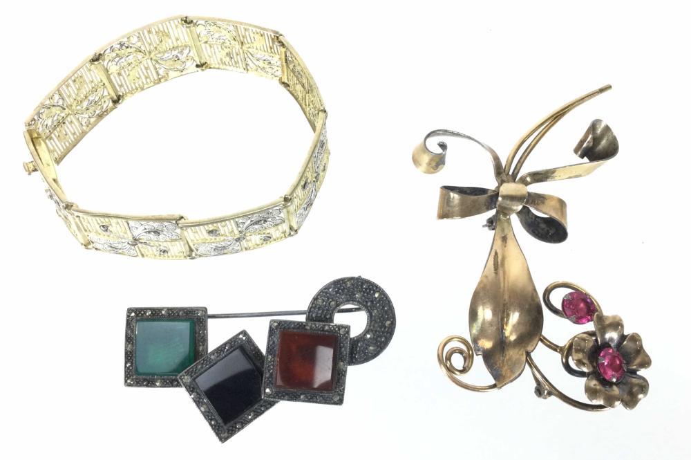 10K Gold & Sterling Filigree Bracelet & Brooches
