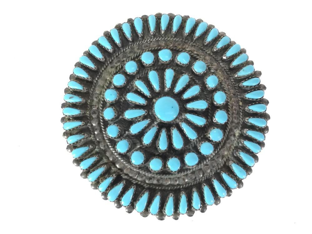 Zuni Sterling Silver Silver Turquoise Pin Brooch