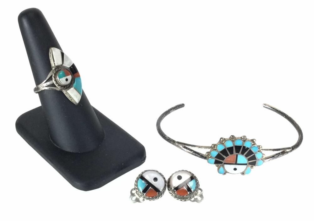 Zuni Sterling Silver Inlaid Ring, Earrings & Cuff