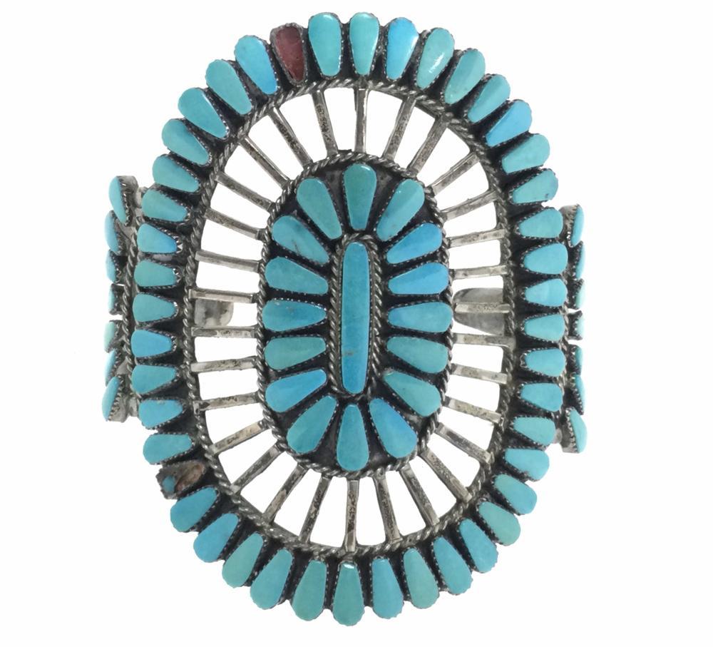 Zuni Sterling Silver & Turquoise Cuff Bracelet