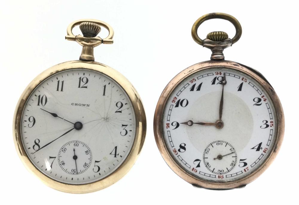 (2) Vintage GF Crown & 800 Silver Pocket Watches
