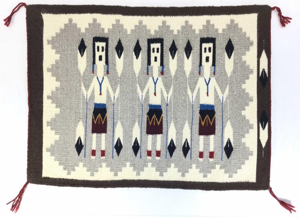 Native American Navajo Hand Woven Yei Rug