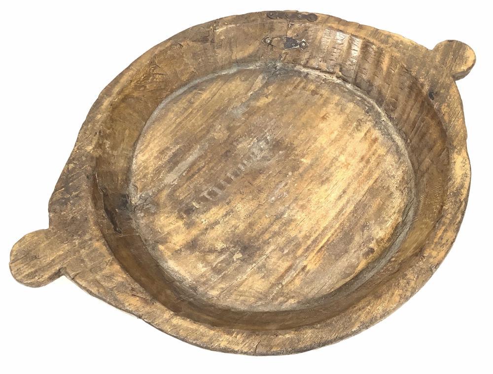 Primitive Carved Wood Handled Dough Bowl