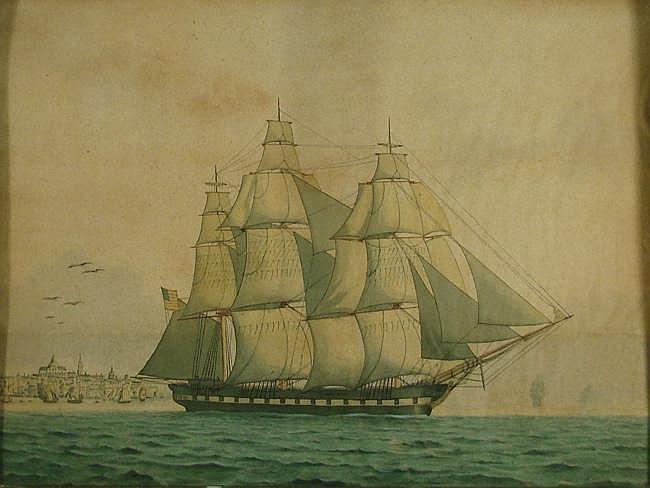 LUCIUS A. BRIGGS, American, 1852-1931, American three-masted schooner, Watercolor, pen and ink, 17¾