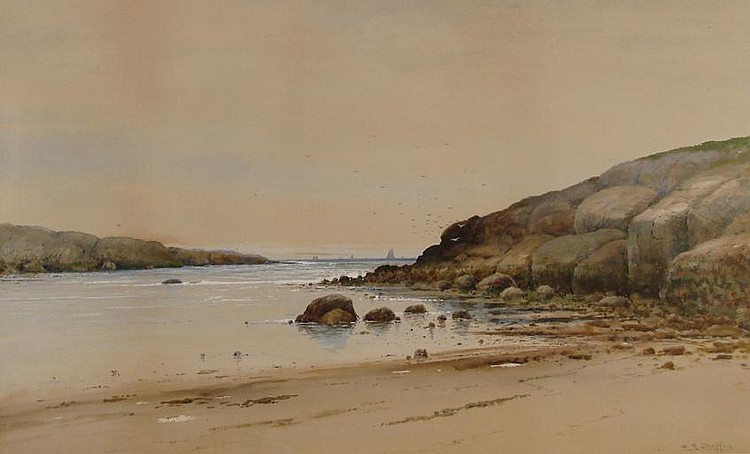 SAMUEL R. CHAFFEE, American, b. 1850, Shore scene with sailboats., Watercolor on paper 17