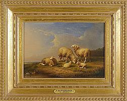 """FRANZ VAN SEVERDONCK, Belgian, 1809-1889, A family of sheep., Oil on panel, 7"""" x 10½"""". Framed."""