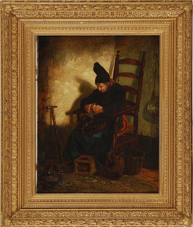 POSSIBLY ROBERT WYLIE, American/French 1839-1897, A seated man peeling potatoes., Oil on canvas, 21