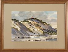 """FRAMED WATERCOLOR: FOSTER NYSTROM (American, b. 1913). Nauset light. Signed lower left """"Foster H. Nystrom"""". On paper, 13"""" x 19.5"""" si..."""