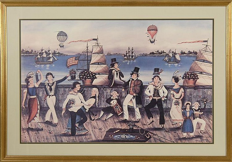 "COLORED PRINT OF RALPH CAHOON'S SAILOR'S WEDDING DANCE. 21"" x 32"" sight. Matted and framed."