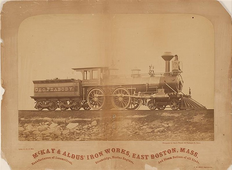 LARGE UNFRAMED PHOTOGRAPH taken by John Whipple. Depicting engine and tender. Titled underneath