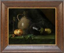 """ROBERT SCHADE, Wisconsin, 1861-1912, Still life of a stoneware jug, an onion and an eggplant., Oil on canvas, 14"""" x 18"""". Framed 20""""..."""