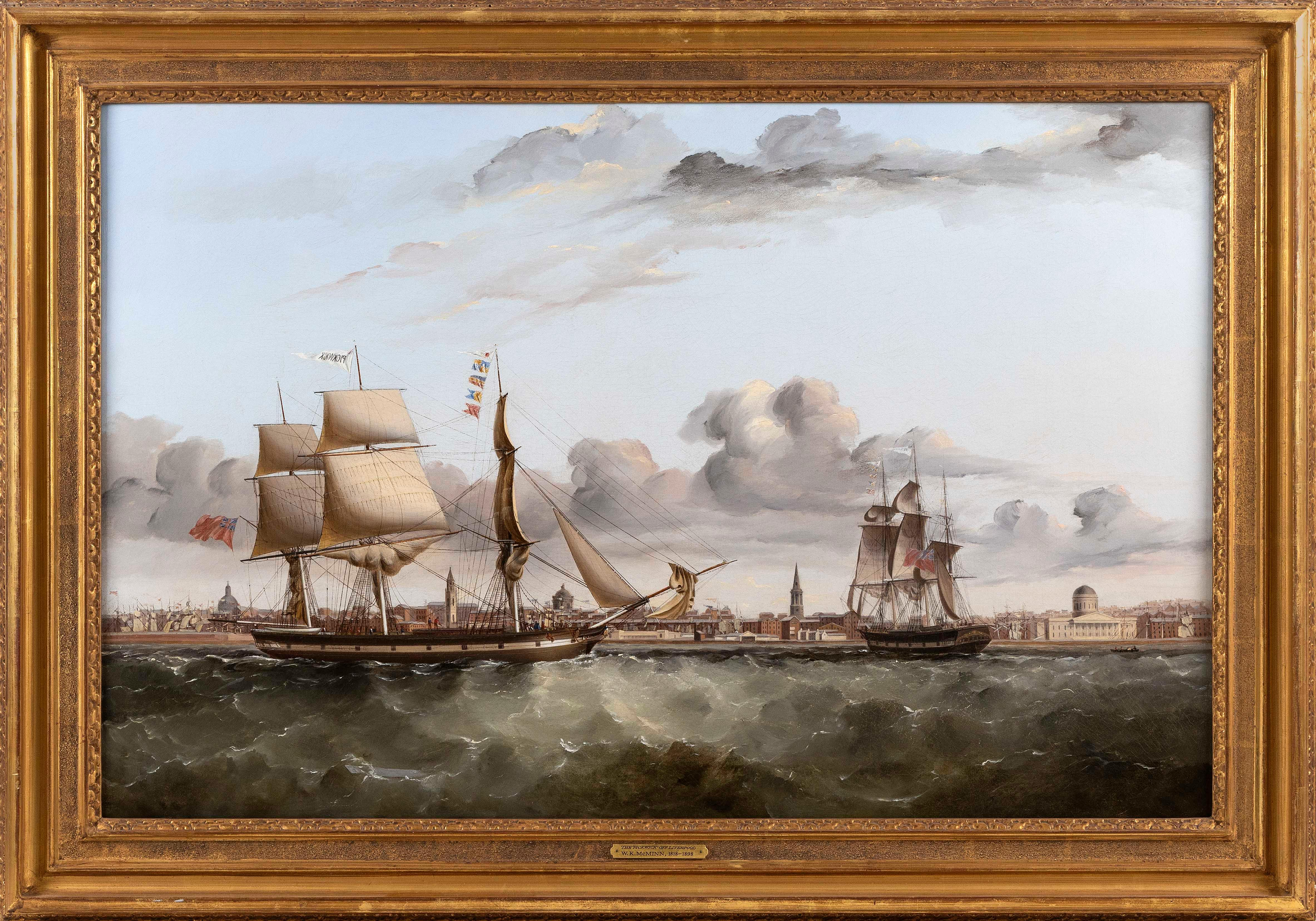 """WILLIAM KIMMINS MCMINN (California/United Kingdom, 1820-1898), The Pickwick in two positions off Liverpool., Oil on canvas, 24"""" x 37"""". Framed 30.5"""" x 43.5""""."""