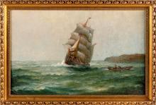 "JAMES J. MCAULIFFE (Massachusetts, 1848-1921), ""Outward Bound, Coast of Maine 1914""., Oil on canvas, 18"" x 28"". Framed 21.5"" x 31.5""."