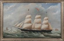 """JOSEPH B. SMITH (New York/New Jersey, 1798-1876), Portrait of the ship Adelaide ., Oil on canvas, 26"""" x 42"""". Framed 29.5"""" x 45.5""""."""