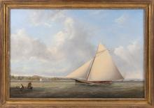 "JOSEPH B. SMITH (New York/New Jersey, 1798-1876), ""The Yacht Restless Off Staten Island""., Oil on canvas, 24"" x 36"". Framed 28"" x 40""."