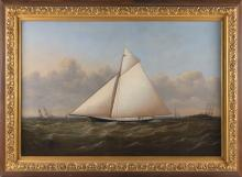 """JOSEPH B. SMITH (New York/New Jersey, 1798-1876), The sloop yacht Rebecca off New York., Oil on canvas, 30"""" x 44"""". Framed 39.5"""" x 53.5"""" under glass."""