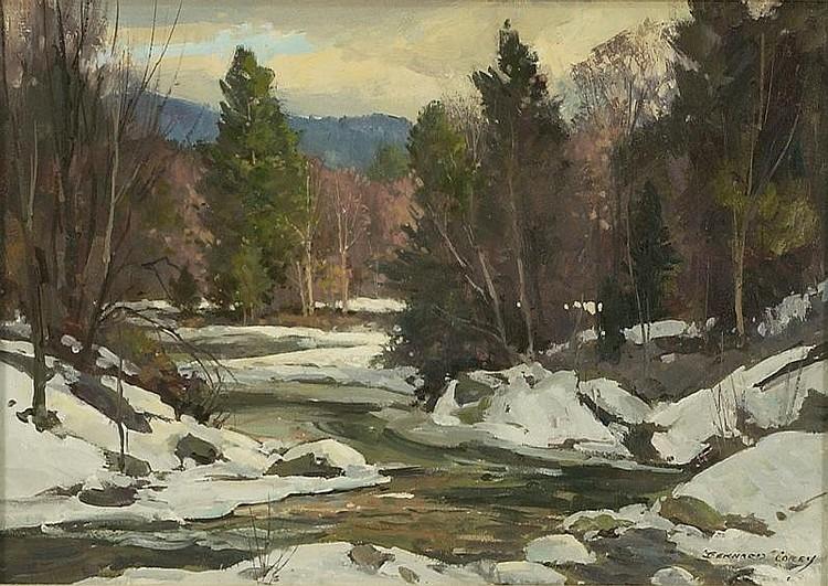 BERNARD COREY, American, 1914-2000, Winter river., Oil on board, 10