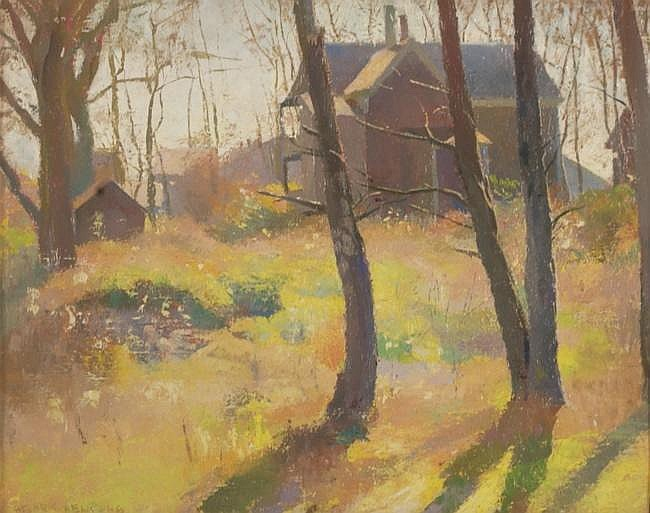 HENRY HENSCHE, American, 1901-1992, House in the trees., Oil on canvas, 16