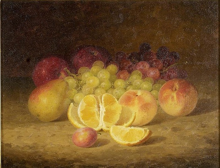 BRYANT CHAPIN, American, 1859-1927, Still life with oranges, apples, and grapes., Oil on canvas, 14