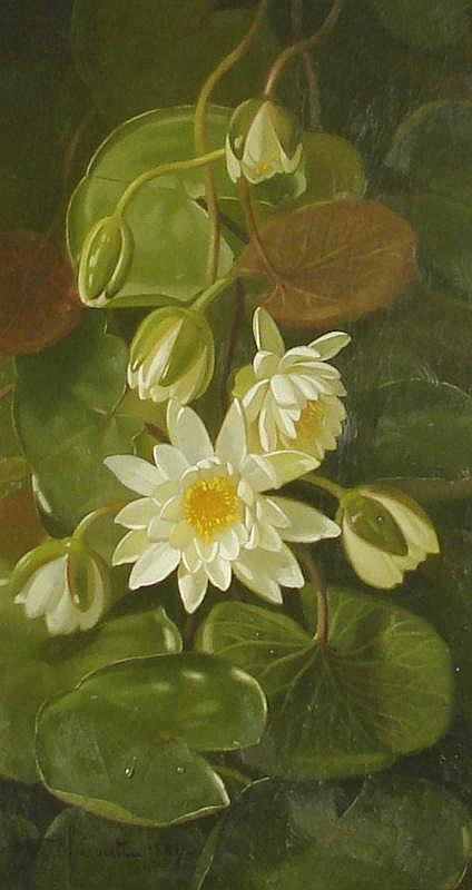 EDWARD CHALMERS LEAVITT, American, 1842-1904, Still life with water lilies., Oil on canvas, 20