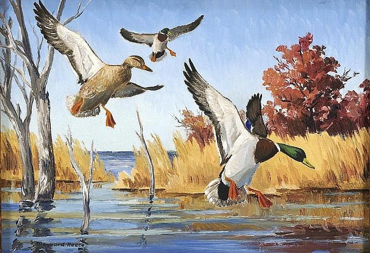 MAYNARD REECE, American, born 1920, Mallard in flight., Oil on canvasboard, 9½
