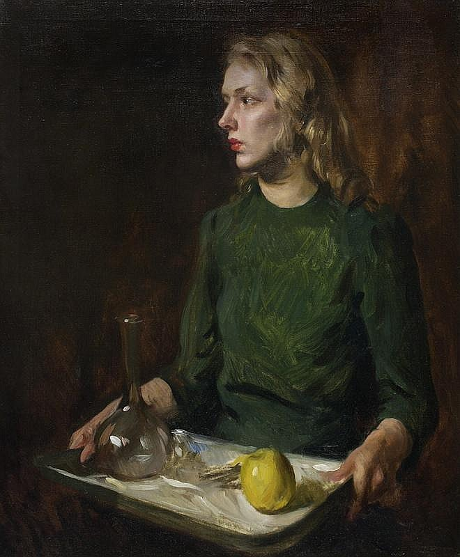 AMERICAN SCHOOL, Early 20th Century, Portrait of a young woman., Oil on canvas, 36