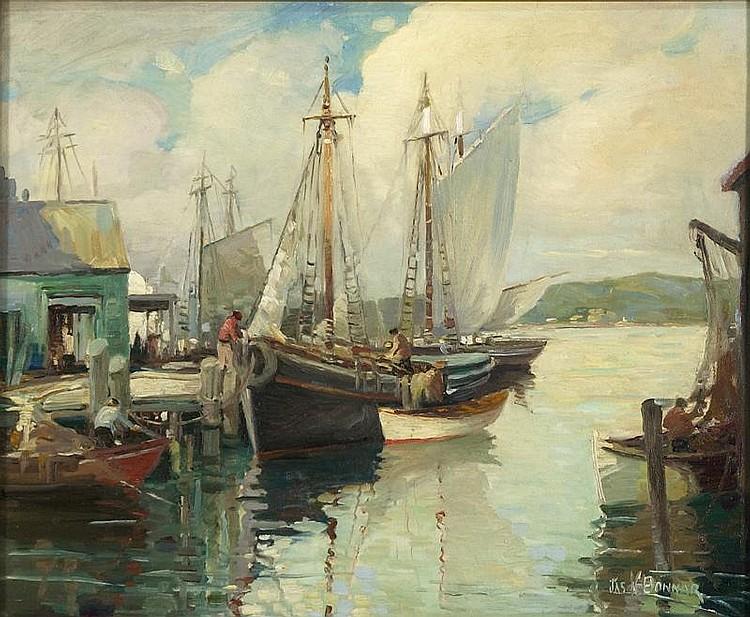 JAMES KING BONNAR, American 1885-1961, Docked fi