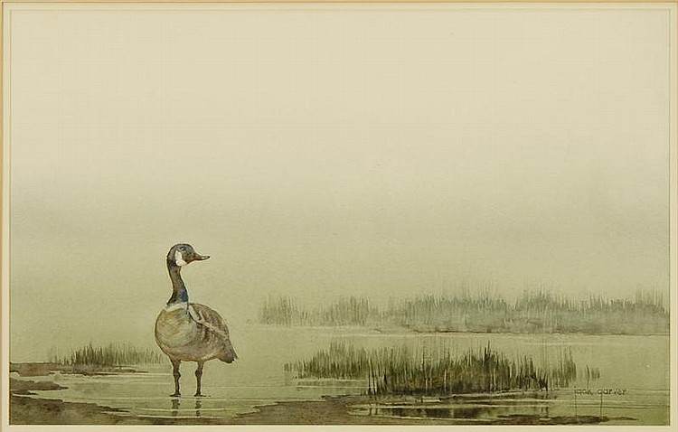 JACK GARVER, American, Contemporary, Goose in a marsh., Watercolor on paper, 12¾