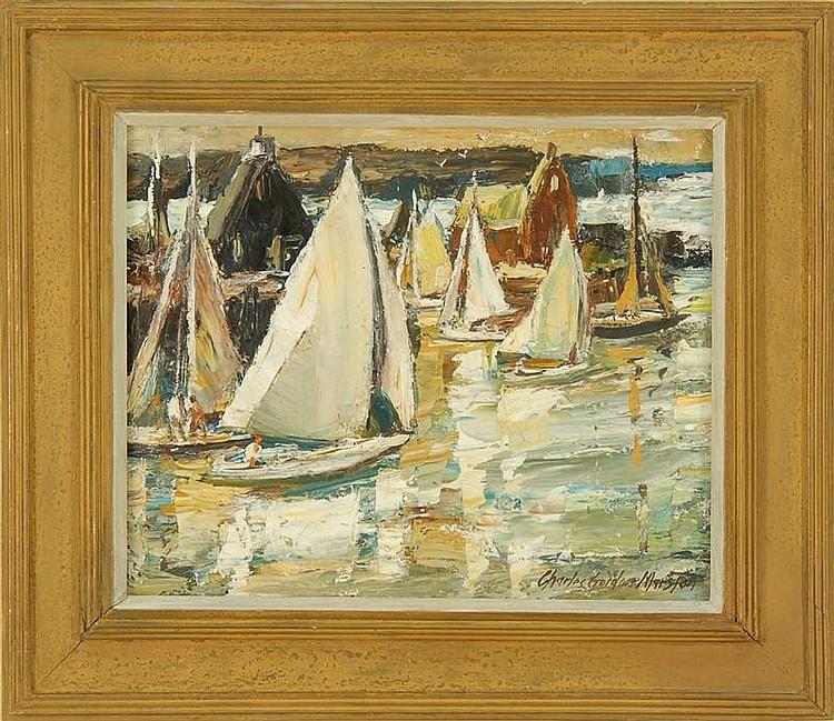 CHARLES GORDON MARSTON, American, 1898-1980, Harbor scene., Oil on canvas, 16