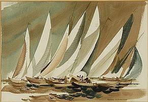 """FOSTER NYSTROM, American, 20th Century, Regatta., Watercolor on paper, 19"""" x 28"""". Framed."""