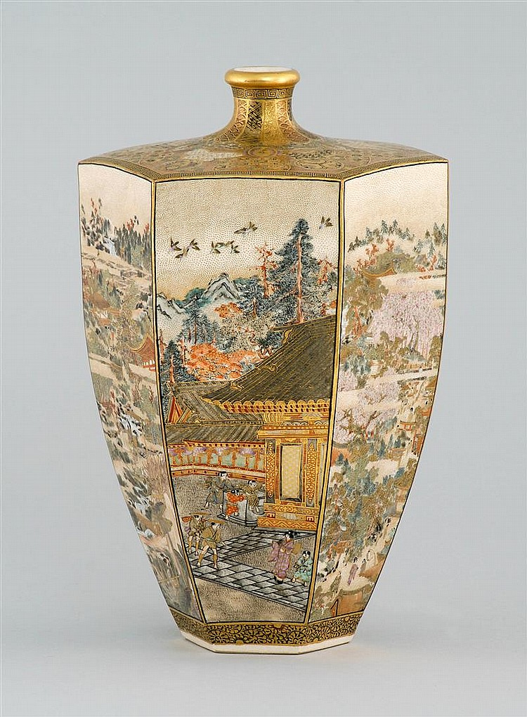 Satsuma Pottery Vase By Dozan In Hexagonal Form With Fine F