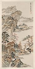 SCROLL PAINTING ON PAPER Attributed to Chen Peiqiu (Chinese, b. 1922). Depicting a mountainous landscape with figures and cottages....