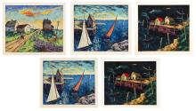"""HARRY SHOULBERG, United States, 1903-1995, Five lithographs., Lithographs on paper, approximately 16"""" x 19"""". Unframed."""