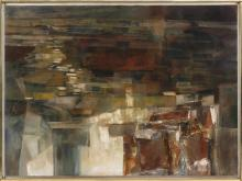 "MARGIT BECK, New York/Romania/Hungary, 1911-1997, Abstract., Oil on canvas, 24"" x 32"". Framed 26"" x 34""."