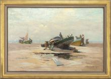 """EDWARD A. PAGE, Massachusetts, 1850-1928, Beached vessels, North Shore of Massachusetts., Oil on canvas, 20"""" x 30"""". Framed 24"""" x 35""""."""
