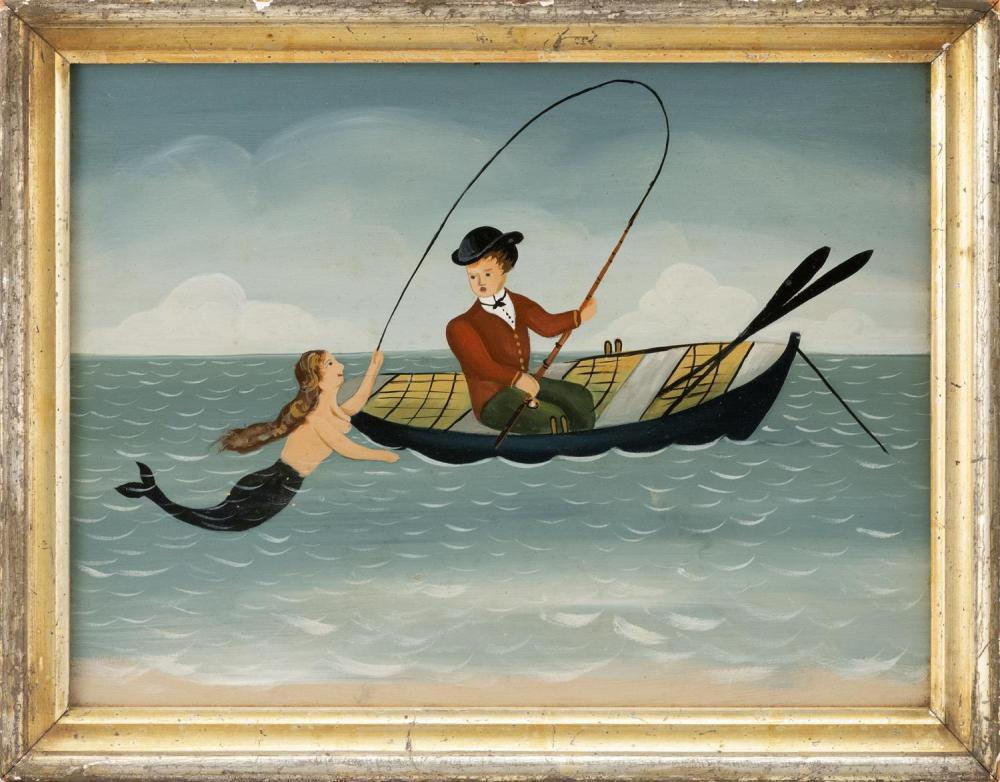 "RALPH E. CAHOON, JR., Cape Cod, 1910-1982, A fisherman lands a mermaid., Oil on board, 10"" x 13"". Framed 11.5"" x 14.5""."