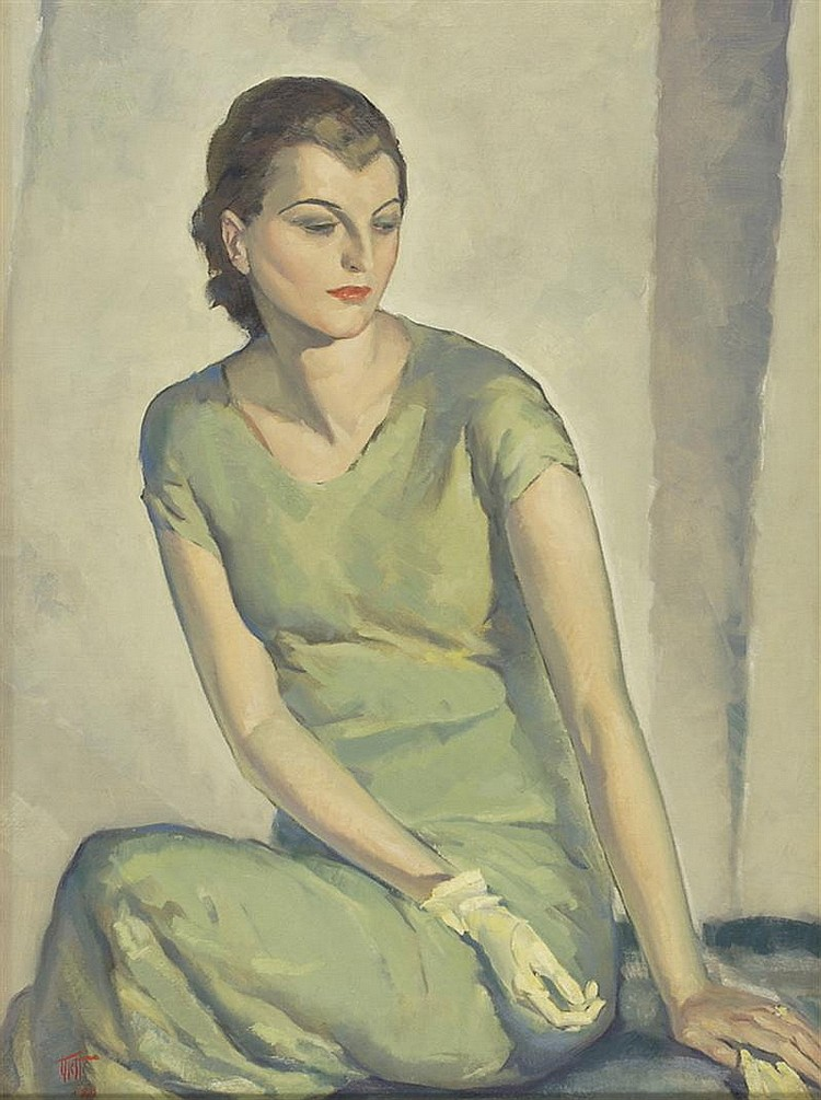 WALTER CHARLES KLETT, American, 1897-1966, Portrait of a lady in green., Oil on canvas, 32
