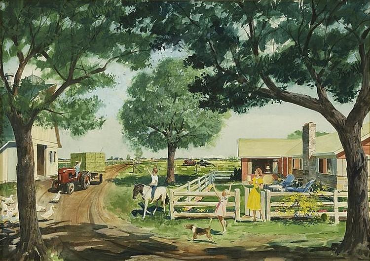 LLOYD R. JONES, American, 1890-1934, Back from the fields., Watercolor on board, 18