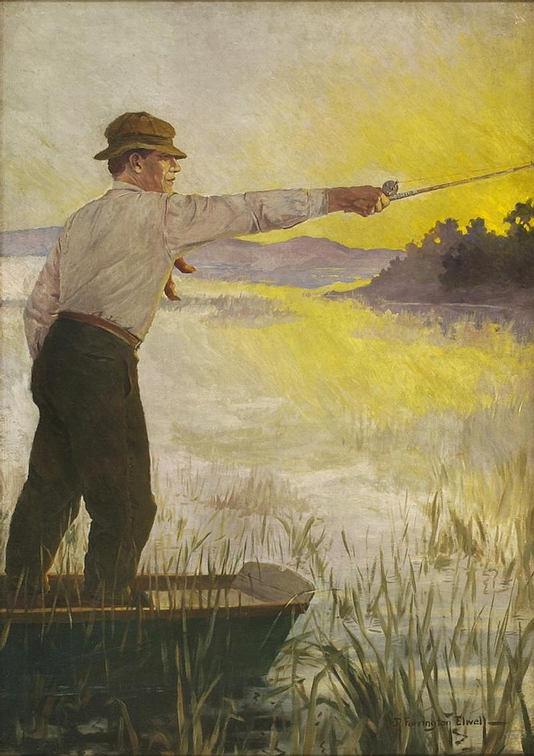 ROBERT FARRINGTON ELWELL, American, 1874-1962, Fishing at sunset., Oil on canvas, 38