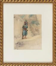 """MARIUS ROY (France, 1833-1921), Arab figure., Watercolor on paper, 9.5"""" x 7.75"""". Framed 18.5"""" x 15.5""""."""