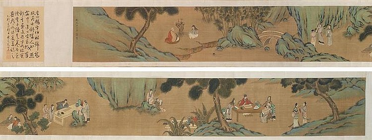 HAND SCROLL ON SILK Attributed to Li Gong Lin. Depicting figures in a landscape. Signed and marked with two seal marks. 10½