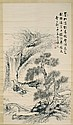 SCROLL PAINTING ON PAPER Cottage and scholars in a landscape with waterfall. Marked with calligraphy and three seal marks. 57¼