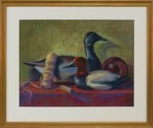 """JANE ECCLES, Massachusetts, Contemporary, Still life with decoy., Pastel on paper, 18"""" x 24.5"""" sight. Framed 26"""" x 32""""."""