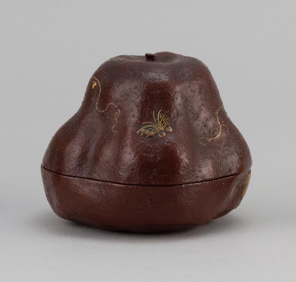JAPANESE LACQUER GOURD-FORM NATSUME With a gilt flowering vine on a textured brown ground. Signed. Height 2.5