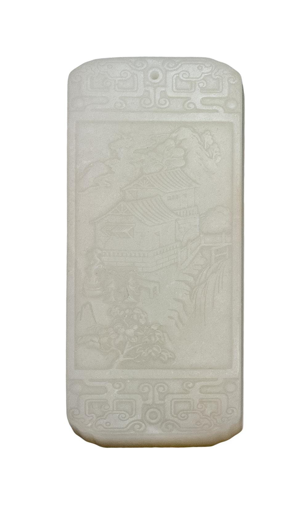 """CHINESE WHITE JADE PENDANT Rectangular, carved with a figural landscape on obverse and a river landscape on reverse. Length 3.3""""."""