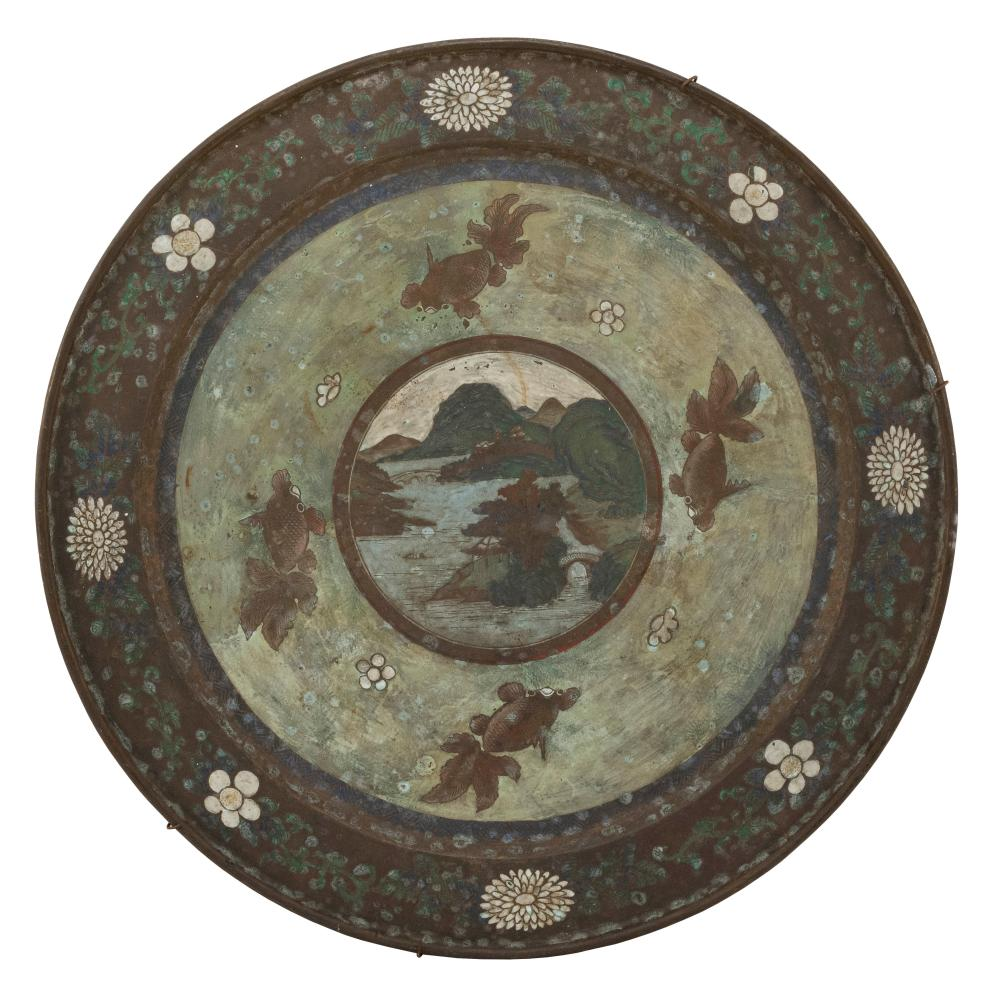 OVERSIZE JAPANESE CLOISONNÉ ENAMEL CHARGER Central river landscape decoration surrounded by four carp and a rim with chrysanthemum a...