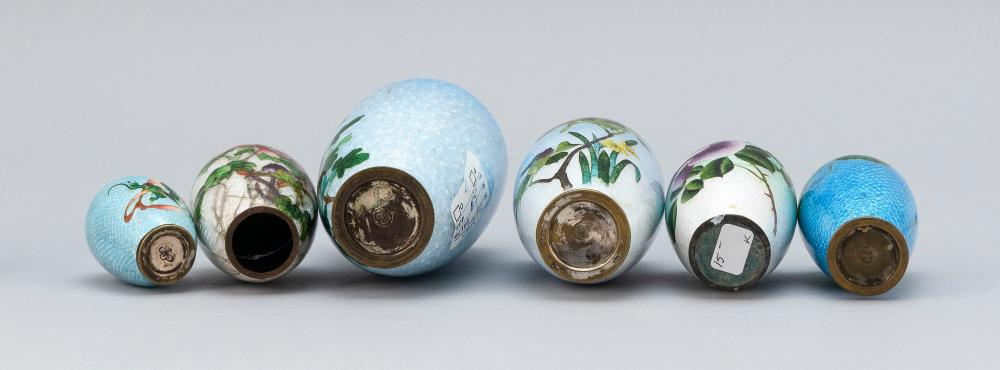 SIX ASSORTED JAPANESE FOIL CLOISONNÉ ENAMEL VASES In light blue, green and white, most with floral decoration. Smallest with dragon...