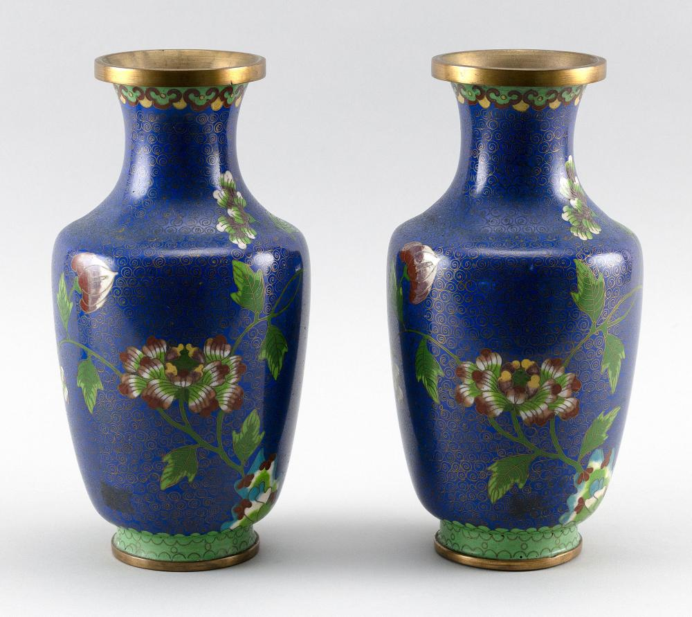 """PAIR OF JAPANESE BLUE CLOISONNÉ ENAMEL VASES In rouleau form, with peony decoration. Heights 9.5""""."""