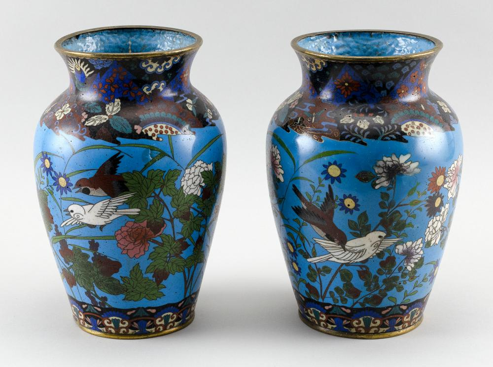 PAIR OF JAPANESE CLOISONNÉ ENAMEL VASES In rouleau form, with decoration of sparrows and butterflies amongst flowers on a turquoise...