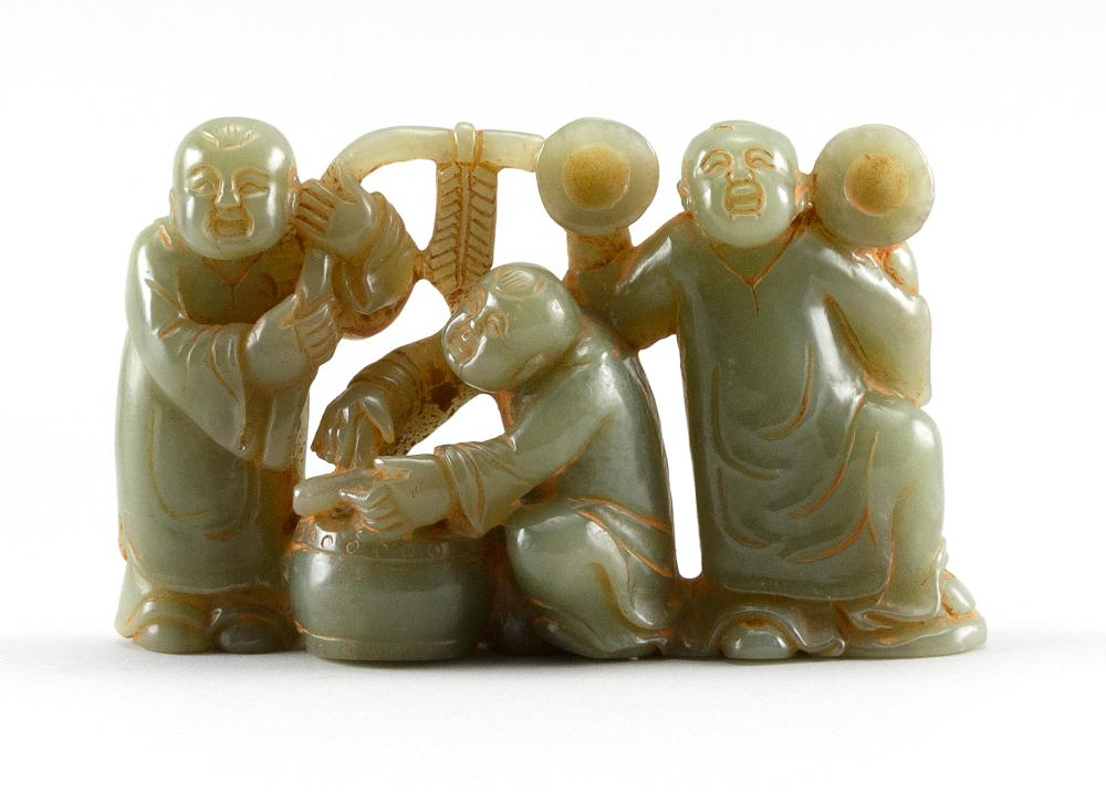 """CHINESE CARVED GREEN JADE FIGURE GROUP Three wedding musicians. Height 3.5"""". Length 5""""."""